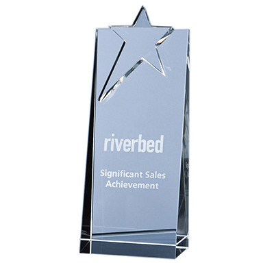 The modern looking Star Rectangle award is hand crafted out of perfectly clear optical crystal.
