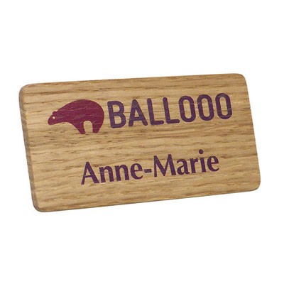 REAL WOOD NAME BADGE